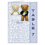 Table 7 number card Blue Teddy bear wedding peom