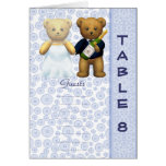 Table 8 number card Blue Teddy bear wedding peom