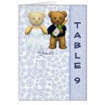 Table 9 number card Blue Teddy bear wedding peom