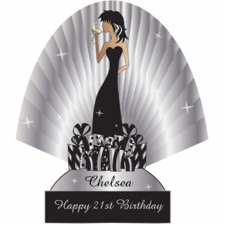 Table/Cake Topper- Personalize Party Girl - Silver Photo Sculptures