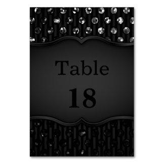 Table Card Black Sparkley Jewels