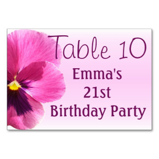 Table Card - Dark Pink Pansy