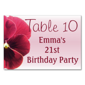 Table Card - Dark Red Pansy