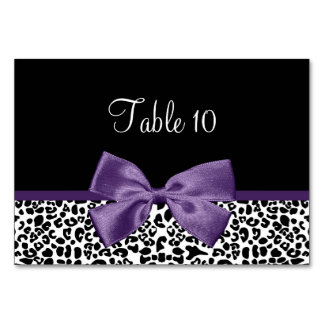 Table Card Modern Leopard Acai Purple Ribbon