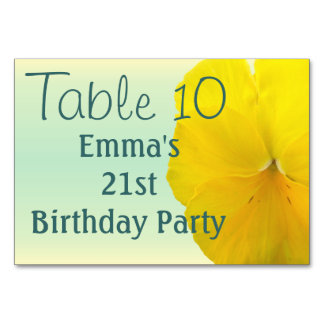 Table Card - Pencilled Yellow Pansy