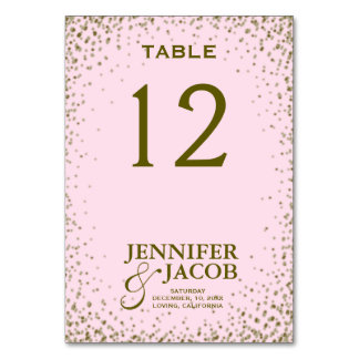 Table Card   Pink and Gold