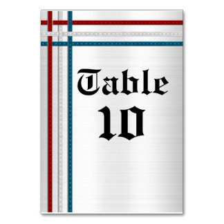 Table card red, white and blue ribbons