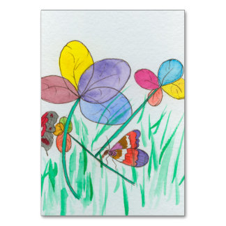 table card with abstract flower