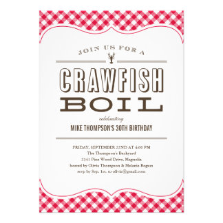 Table Cloth Crawfish Boil Invitations