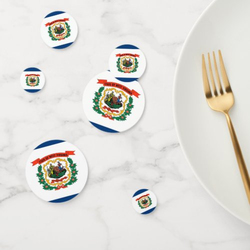 Table confetti with flag of West Virginia
