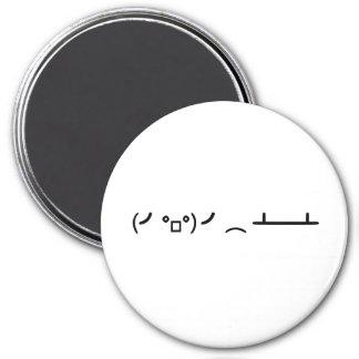 Table Flip Flipping Ascii Emoticon 3 Inch Round Magnet
