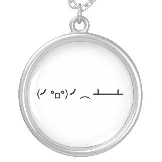 Table Flip Flipping Ascii Emoticon Round Pendant Necklace