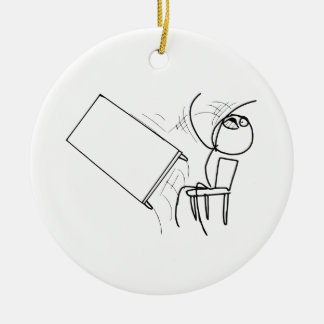 Table Flip Flipping Rage Face Meme Ceramic Ornament
