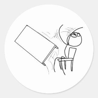 Table Flip Flipping Rage Face Meme Classic Round Sticker