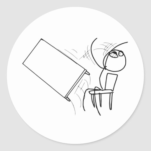 Table Flip Flipping Rage Face Meme Round Stickers
