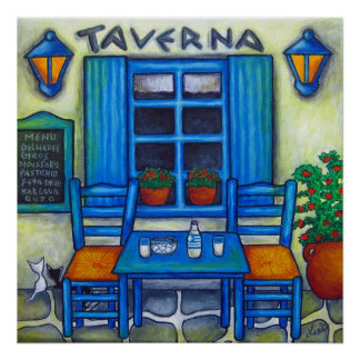 Table for Two in Greece by Print Lisa Lorenz