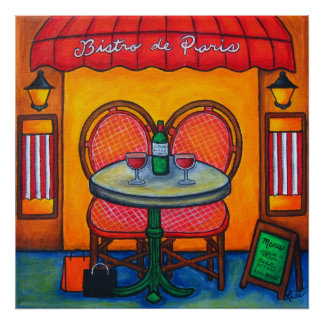 Table for Two in Paris by Lisa Lorenz Poster