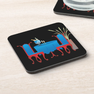 Table for Two Plastic Coasters