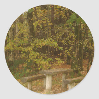 Table in the woods round sticker