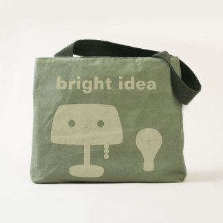 Table lamp and light bulb canvas utility tote