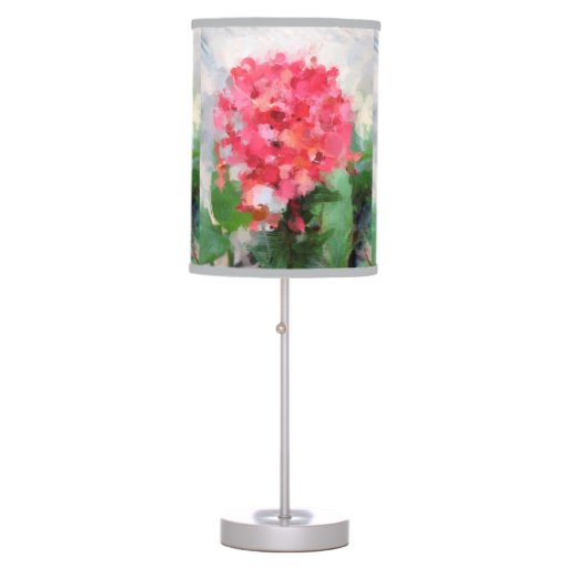 Table Lamp With Tropical Pink Flower Shade Zazzle