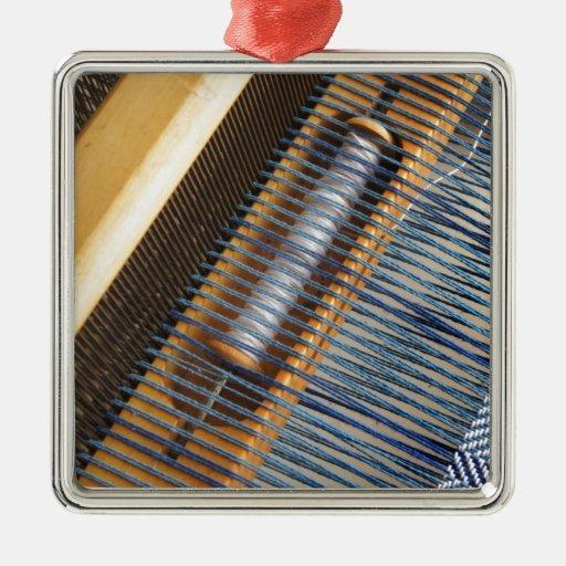 Table Loom Square Metal Christmas Ornament