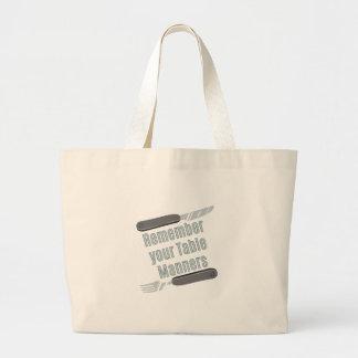Table Manners Jumbo Tote Bag