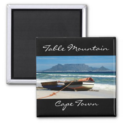Table Mountain & fishing boats magnets $ 3.70