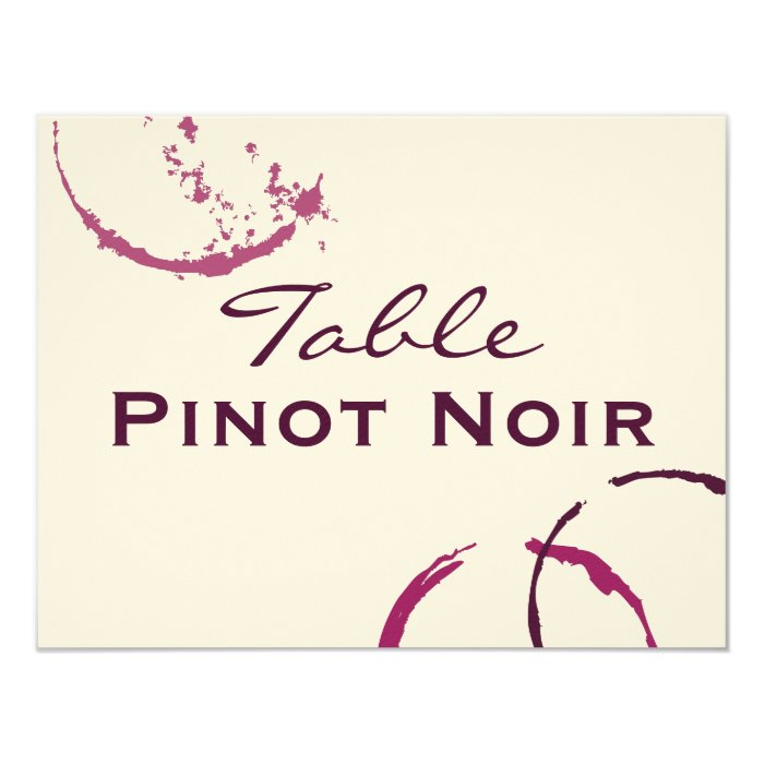 Table Name Cards   Types of Wine Theme