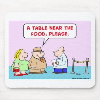 table near food waiter fat restaurant mouse pad