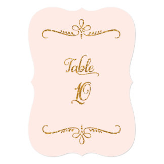 Table Number 10, Fancy Script Lettering Receptions Card