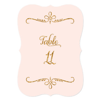 Table Number 11, Fancy Script Lettering Receptions Invitations