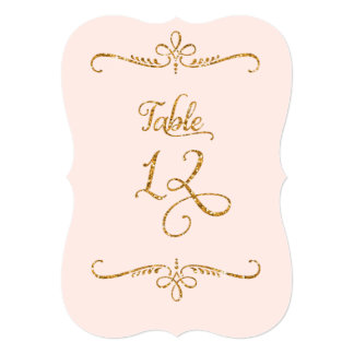 Table Number 12, Fancy Script Lettering Receptions 5x7 Paper Invitation Card