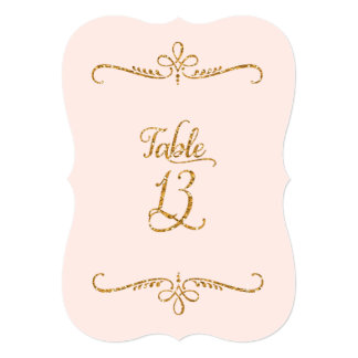 Table Number 13, Fancy Script Lettering Receptions 5x7 Paper Invitation Card