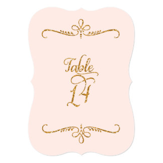 Table Number 14, Fancy Script Lettering Receptions 5x7 Paper Invitation Card
