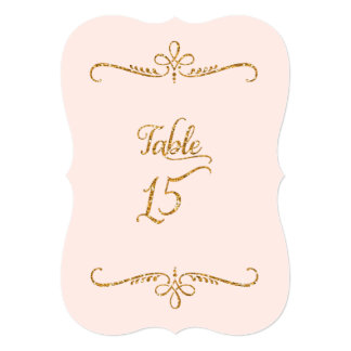 Table Number 15, Fancy Script Lettering Receptions 5x7 Paper Invitation Card