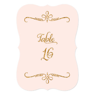Table Number 16, Fancy Script Lettering Receptions 5x7 Paper Invitation Card