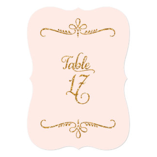 "Table Number 17, Fancy Script Lettering Receptions 5"" X 7"" Invitation Card"