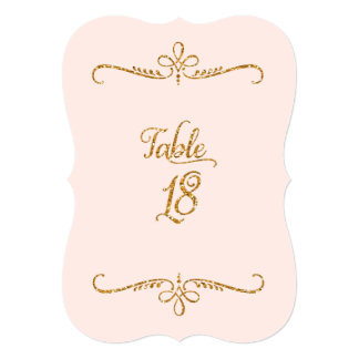Table Number 18, Fancy Script Lettering Receptions Personalized Invites