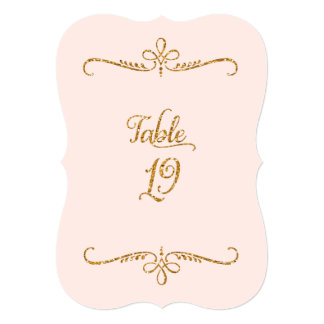 Table Number 19, Fancy Script Lettering Receptions 5x7 Paper Invitation Card