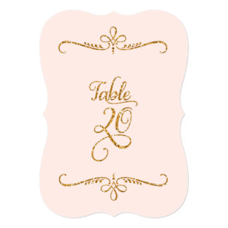 Table Number 20, Fancy Script Lettering Receptions Card