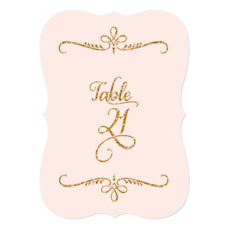 Table Number 21, Fancy Script Lettering Receptions 5x7 Paper Invitation Card