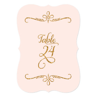 Table Number 24, Fancy Script Lettering Receptions 5x7 Paper Invitation Card