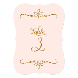 Table Number 3, Fancy Script Lettering Receptions Card
