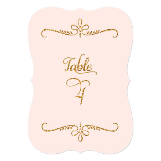Table Number 4, Fancy Script Lettering Receptions Card