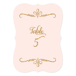 Table Number 5, Fancy Script Lettering Receptions 5x7 Paper Invitation Card