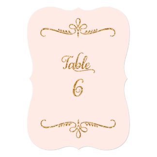 Table Number 6, Fancy Script Lettering Receptions 5x7 Paper Invitation Card