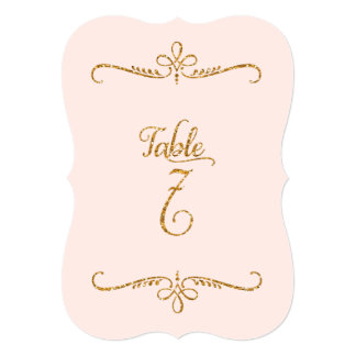 Table Number 7, Fancy Script Lettering Receptions 5x7 Paper Invitation Card
