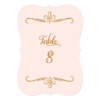 Table Number 8, Fancy Script Lettering Receptions 5x7 Paper Invitation Card