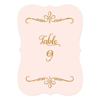 Table Number 9, Fancy Script Lettering Receptions Card